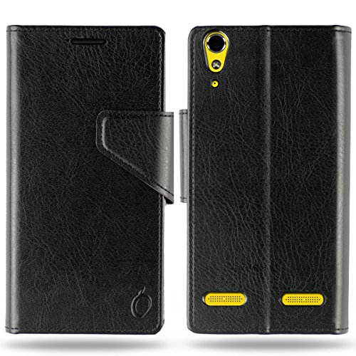 Cool Mango Business Flip Cover for Lenovo A6000 Plus / Lenovo A6000 - 100% Premium Faux Leather Flip Case for Lenovo A 6000 with 360 Degree Stitching, Magnetic Lock, Card & Currency Wallet - Limited Time Offer Pricing (Midnight Black)