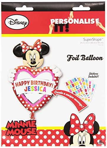 "Minnie Mouse Balloon Personalize w/Name Happy Birthday 24""x33"" New Vhtf (Red, 1)"