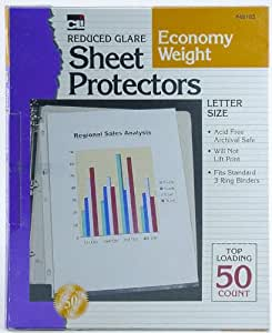 Charles Leonard Inc. Economy Weight/Non-Glare Sheet Protectors,  50/box (48185)
