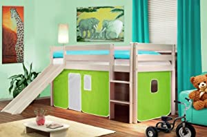 Children's Loft Bed With Slide Sold Pine Wood White - Green/White - SHB/41/1032