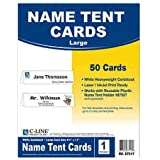 C-Line® Tent Cards, White, 4-1/4 x 11, 1 Card/Sheet, 50 Cards per Box
