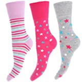 Womens/Ladies Cotton Rich Patterned Casual Socks with Non Elastic Tops (Pack of 3)