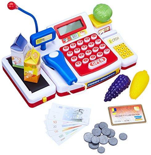 Caja registradora supermercado con escáner y calculadora (18 x 16 x 38 cm) (Simba 452570)