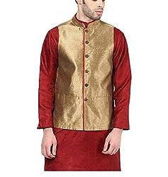 Yepme Men's Gold Blended Nehru Jackets - YPMNJKT0040_XL