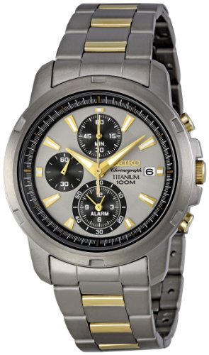 Seiko Men's Quartz Chronograph Watch SNAE49P1 with Titanium Chrono Bracelet and Grey Dial