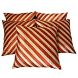 Zikrak Exim Stripi Cushion Cover Beige/rust 5 Pcs Set 40 X 40 Cm