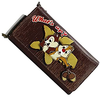 Disney Chip'n Dale Women Girl Large Wallet Coin Purse Card Holder Brown 100% Original