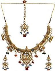 Exotic India Multi-Color Necklace Set With Mang Tika - Copper Alloy With Cut Glass