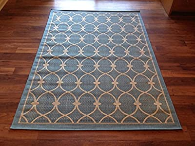 IMS 260797285BL/bg Geometric Pattern Heavyweight Indoor Outdoor Patio Rug, Light Blue & Beige - 6 x 9 ft.