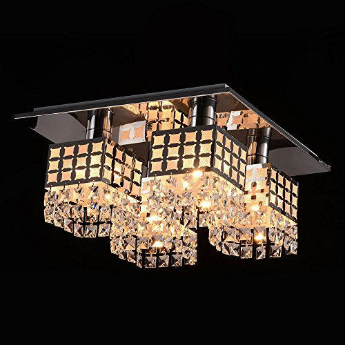 Masione™ Stainless Modern Crystal Ceiling Light Fixture Flush Mount Gein Pattern With 4 Lights For Living Room, Hallway, Bedroom front-526103