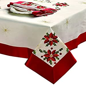 CHI Holiday Embroidered Rectangular Tablecloth, 70 by 104-Inch, Poinsettia with Red Trim Border