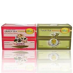 GTEE Green Tea Bags-Jasmine & Tulsi Tea Bags ( 25 Tea bags X 2PACKS)