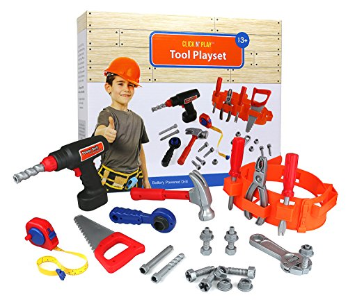 Click-n-Play-23-piece-Kids-Pretend-Play-Real-Working-Toy-Tool-Set-Includes-Powered-Drill-Hammer-Saw-Tape-Measure-Tool-Belt-and-other-Construction-Accessories