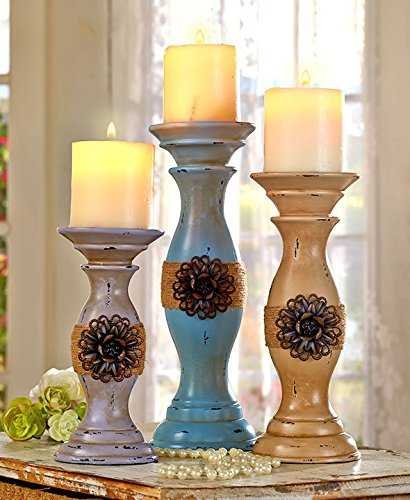 Set of 3 Rustic Vintage Style Shabby Chic Candle Holder Home Accent Decoration 0