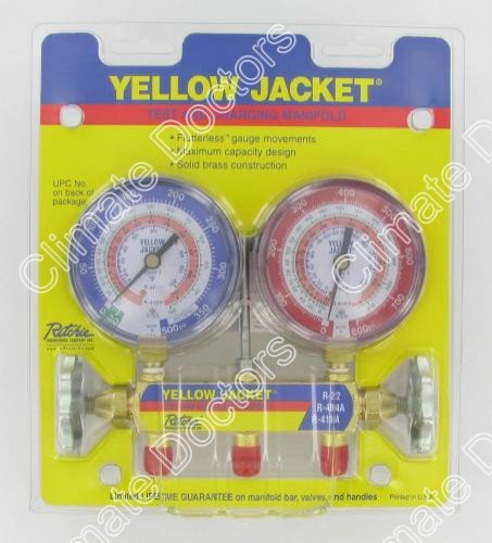 "Yellow Jacket 42001 Series 41 Manifold 3 1/8"" Gauges"