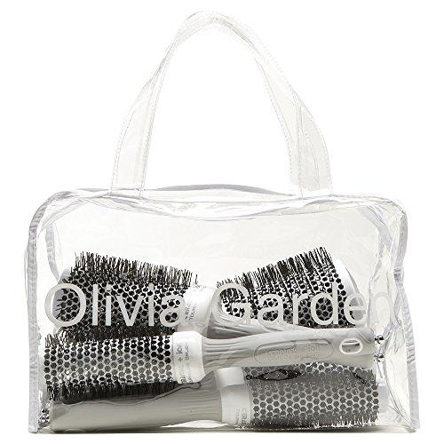Olivia Garden Ceramic + Ion - Borsa con 5 spazzole tonde termiche, misure: 20/25/35/45/55 mm