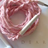 Wrapped Tangle Free Earbuds w/mic Carnation Pink Made for Apple iPhone 5, 5c, 5s, iPad, iPod, EarPods, Headphones