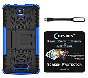 Chevron Tough Hybrid Armor Back Cover Case with Kickstand for Lenovo A2010 with HD Screen Guard & Mini USB LED Light Lamp (Blue)