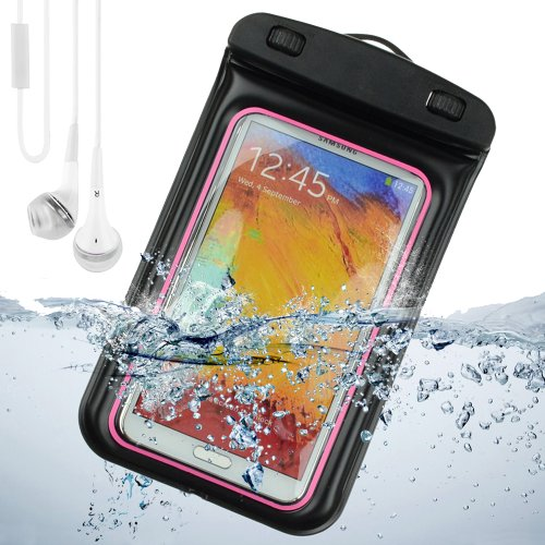 Sumaclife Waterproof Pouch Case For Samsung Galaxy Note 3 / Samsung Galaxy Note 2 / Galaxy S4 (Pink And Black) + White Vangoddy Earphones With Mic