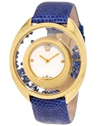 Versace Women's 86Q741MD497 S282 Destiny Precious Yellow-Gold Plated Mother-Of-Pearl Diamond Lizard Watch