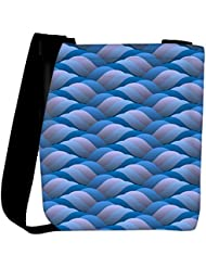Snoogg Background Of Curled Blue Wave Womens Carry Around Cross Body Tote Handbag Sling Bags