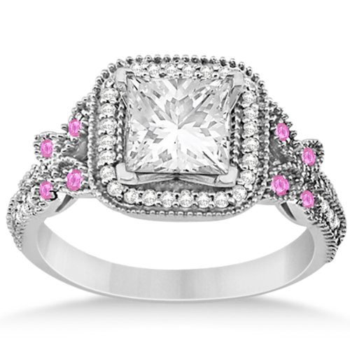 Pink Sapphire Square Halo Butterfly Engagement Ring With Milgrain Edges In Palladium 0.34Ct