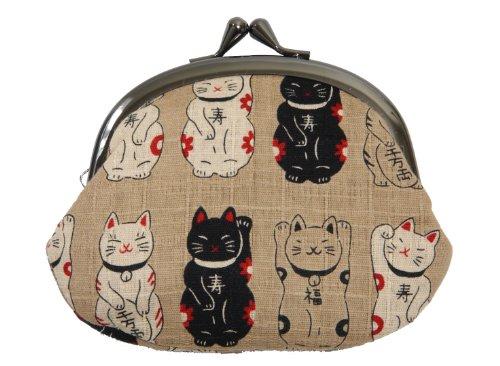 招き猫 がま口 京都職人手作り 財布 小銭入れ 猫柄 日本製 ベージュ