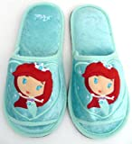 Disney Princess ARIEL MERMAID Slippers Shoes Soft Plush Length 10.5 Inch - For Kids, Youth, Teens, Women, Ladies, Girls, Bedroom, Bathroom, Toilet.