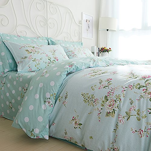 Sisbay Spring Rural Bedding Set Vintage Cotton,New Design Elegant Floral Duvet Cover,Girls Wedding Bed Sheet Full,4pcs 0