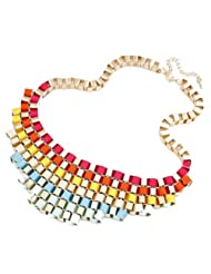 Crunchy Fashion Colored Ribbon Embellished Necklace