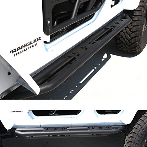 GSI 07-16 Jeep Wrangler Jk Black Textured Body Side Armor Rocker Guard Rock Sliders w/ Step 4 Door Tube Running Boards (Black) (Tube Running Boards compare prices)
