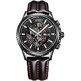 (バオショ) BUREI 腕時計 Gainsbourg ゲンズブール アナログ表示 クロノグラフ ストップウォッチ 50m防水 本革ベルト クォーツ WSM-17003 メンズ (ベルト*ブラック) [並行輸入品]