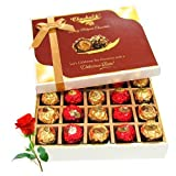 Valentine Chocholik's Belgium Chocolates - Decadent Collection Of Wrapped Chocolate Box With Red Rose