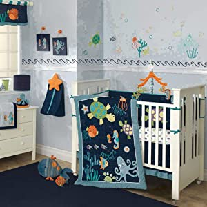 Lambs & Ivy Bubbles and Squirt 5 Piece Bedding Set
