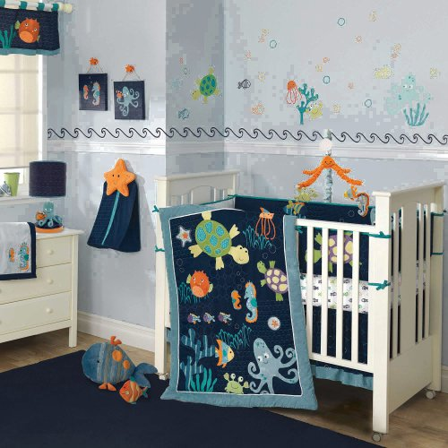 Lambs and Ivy Bubbles and Squirt Ocean Themed Nursery Set