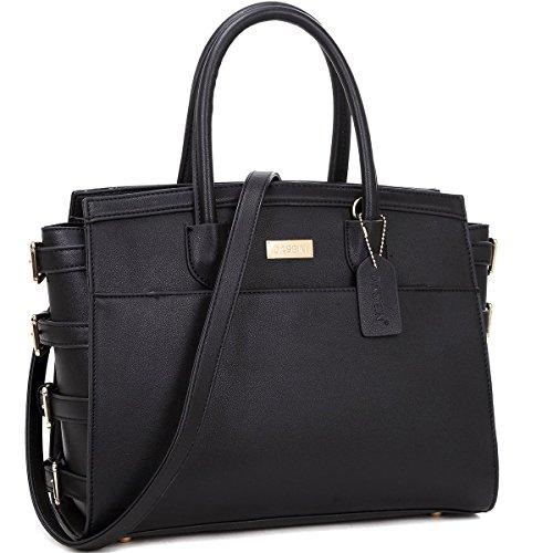 dasein-fashion-side-buckle-faux-leather-satchel-handbag-purse-with-removable-shoulder-strap-black