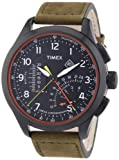 Timex Men's Quartz Watch Timex IQ Linear Indicator Chrono T2P276 with Leather Strap