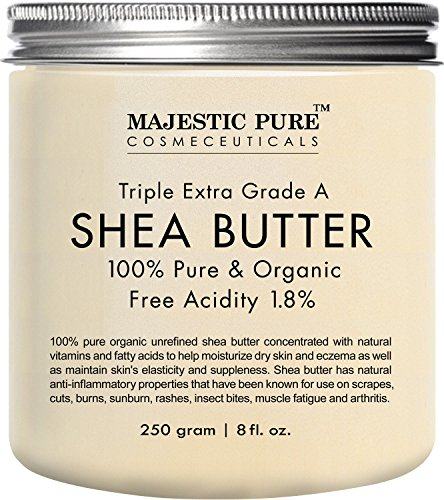 Majestic Pure Shea Butter, Organic Virgin Cold-Pressed Raw Unrefined Premium Grade from Ghana, 8 oz (Organic Shea Butter Cream compare prices)