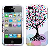 Iphone 4 and 4s for AT and T / Verizon Tree with Colorful Heart Love Leaves on White Back Snap on Case