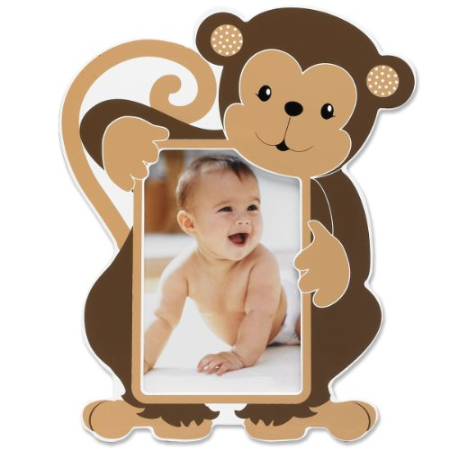 Lawrence Frames Nursery Collection Luxury Frame, Monkey, 4 by 6-Inch, White/Brown