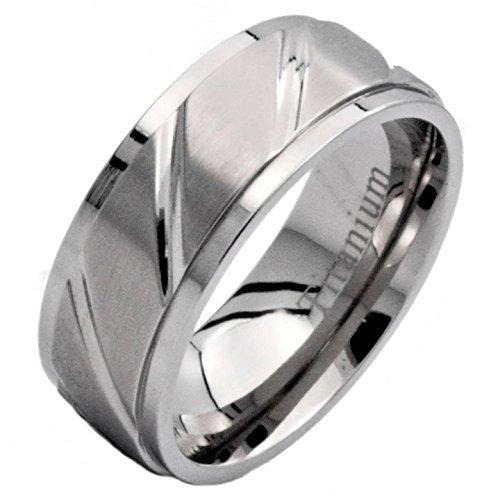 8Mm Titanium Wedding Ring Band Polished Diagonal Grooves & Edges Brushed Center Size 8