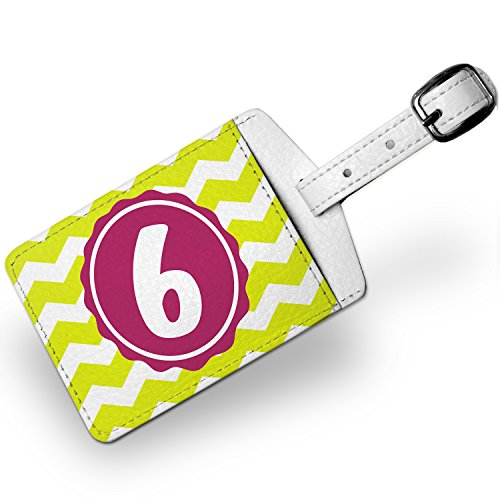 Luggage Tag Monogram 6 Lime Green Chevron, Travel Id Bag Tag - Neonblond