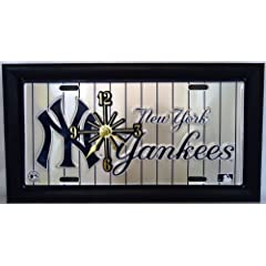 2 , Yankee Clocks, on a,  ,NEW YORK YANKEES, on, PIN STRIPES, , Metal Sign, Framed,...