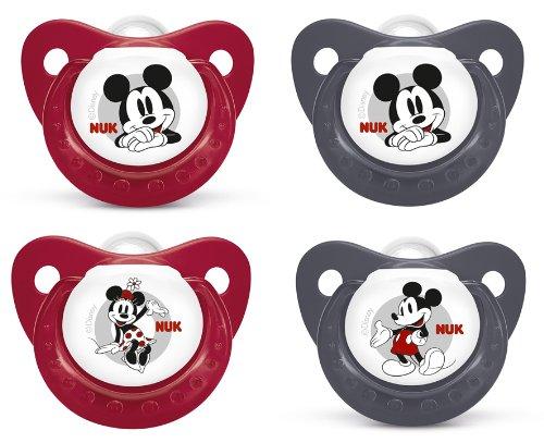 NUK 10176032 - Silikon Beruhigungssauger (Schnuller) Disney Mickey Gr. 2, von 6 bis 18 Monate, 2 Stück, Farbe nicht frei wählbar