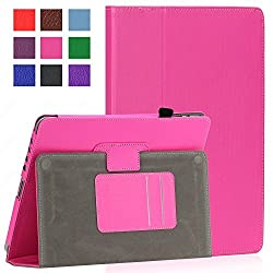 SAVEICON PU Folio Leather Case Cover with Built-in Stand for Apple iPad 1 1st Generation (iPad 1, Hot Pink)
