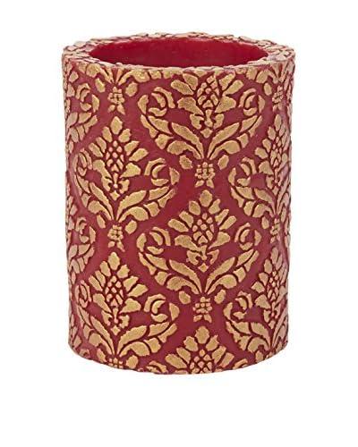 Et Al Designs Golden Damask Pattern Red Pillar Candle