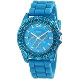 Reloj XOXO XO8043 para  Mujer, con pulsera de silicón y piedras turquesa decorativas.