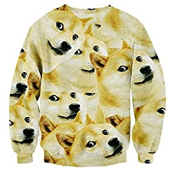 YonBii Mens Womens 3D Funny Dog Sweater Jumper Knitted Top