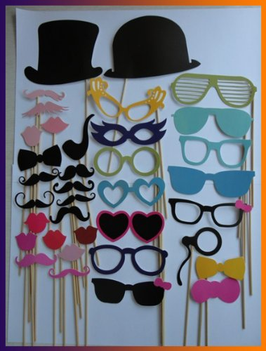 36pcs On A Stick Mustache Photo Booth Wedding props Hallowmas Birthday Party Fun Favor Dec - 1