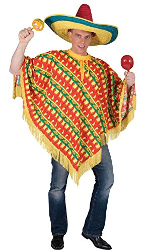 Mexican Bandit Mens Fancy Dress Sombrero Poncho Maracas Chilli Complete Outfit